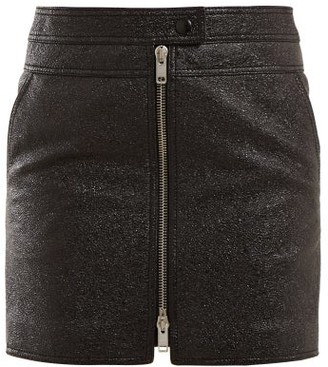 Givenchy Textured Leather Mini Skirt - Womens - Black