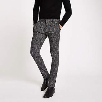 River Island Black tile print ultra skinny smart pants