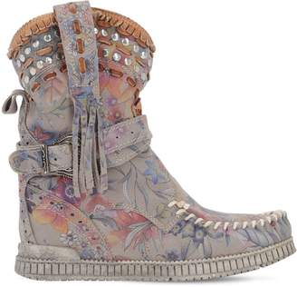 EL VAQUERO 70mm Yara Flower Printed Suede Boots