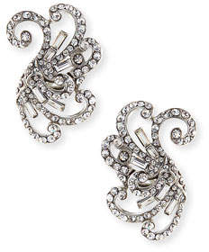 Jose & Maria Barrera Swirled Crystal Clip-On Earrings