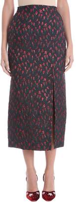 ATTICO High Waist Rose Jacquard Midi Skirt