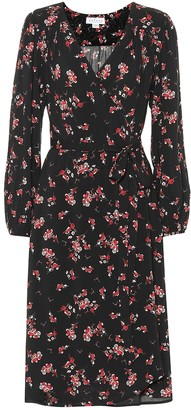 Velvet Pomona floral crepe wrap dress