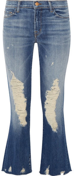 J Brand - Selena Distressed Cropped Mid-rise Bootcut Jeans - Mid denim