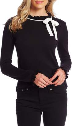 CeCe Ruffle Bow Neck Sweater