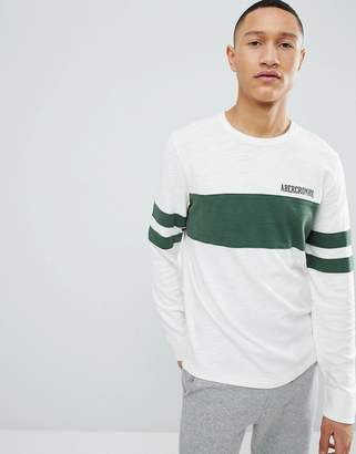 Abercrombie & Fitch Varsity Chest Stripe Lightweight Sweatshirt in White
