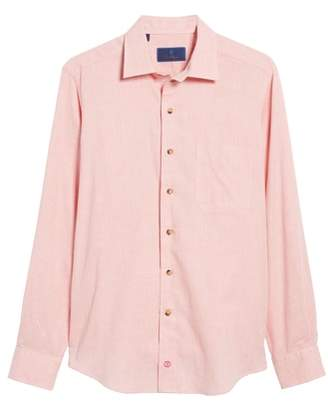 David Donahue Regular Fit Garment Washed Melange Sport Shirt