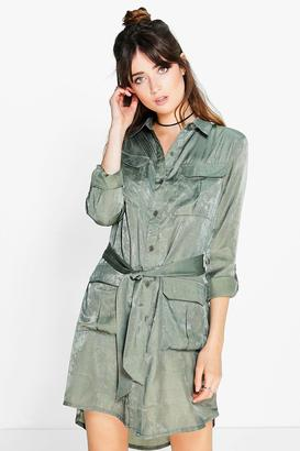 boohoo Joanie Utility Pocket Shirt Dress $42 thestylecure.com