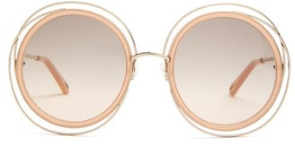 Chloé Carlina Round Metal Sunglasses - Womens - Nude