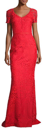 St. John Collection Embroidered Lace Short-Sleeve Gown, Red $1,995 thestylecure.com
