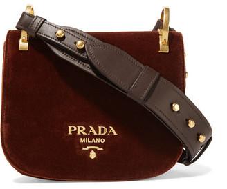 Prada - Pionnière Velvet Shoulder Bag - Chocolate $1,770 thestylecure.com