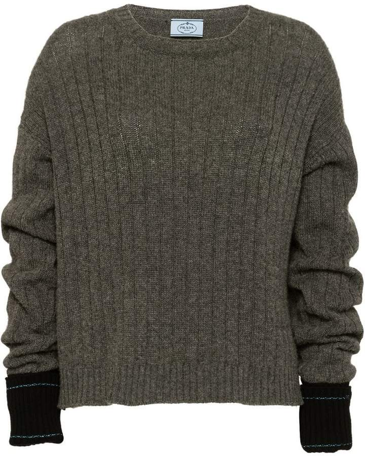 contrast cuff ribbed sweater