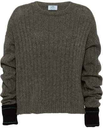 Prada contrast cuff ribbed sweater