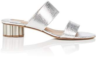 Salvatore Ferragamo Women's Flower-Heel Metallic Leather Sandals