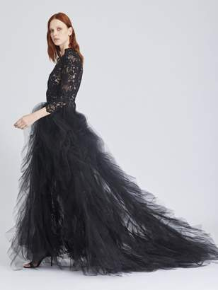 Oscar de la Renta Scattered Floral Lace and Tulle Gown