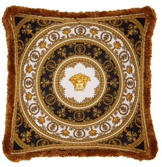 Versace I Heart Baroque Silk Cushion - Black Gold