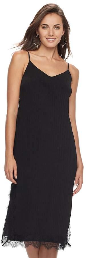 Women's Apt. 9 Ribbed Lace Slip Dress