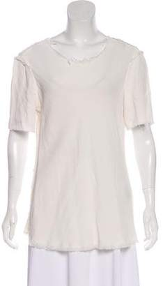 Raquel Allegra Frayed Trim Short Sleeve Top