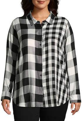 Boutique + + Mixed Buffalo Plaid Button-Front Shirt - Plus