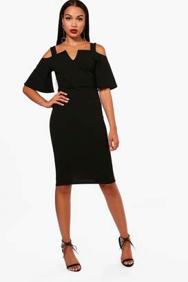 boohoo Florence Formal Cold Shoulder Midi Dress