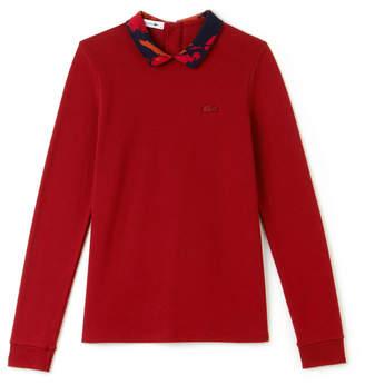 Lacoste Women's Jacquard Collar Stretch Mini Pique Polo
