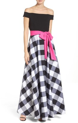 Women's Eliza J Jersey & Check Crepe De Chine Off The Shoulder Maxi Dress $178 thestylecure.com