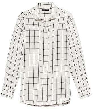 Banana Republic Parker Tunic-Fit Windowpane Plaid Shirt
