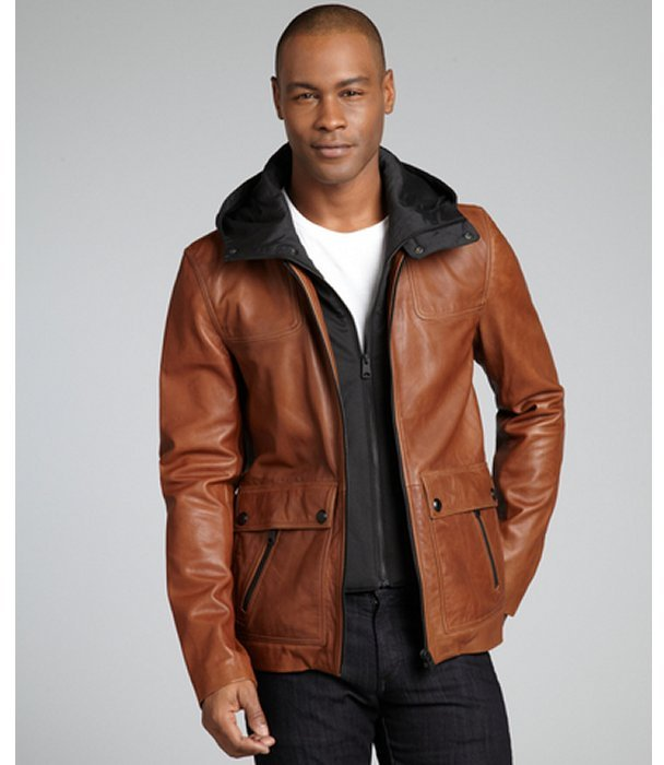 Soia & Kyo camel leather 'Asa' hooded zip front jacket