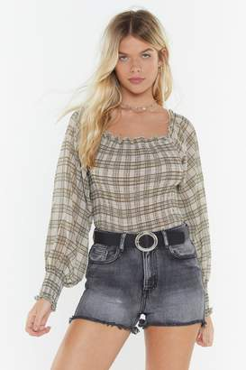 4dd8a09c6bf12 Nasty Gal Check Bardot Balloon Sleeve Blouse