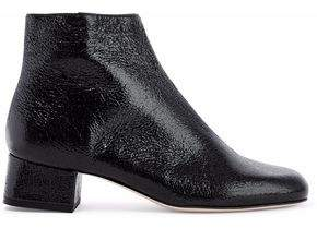 RED Valentino Glossed Cracked-Leather Ankle Boots