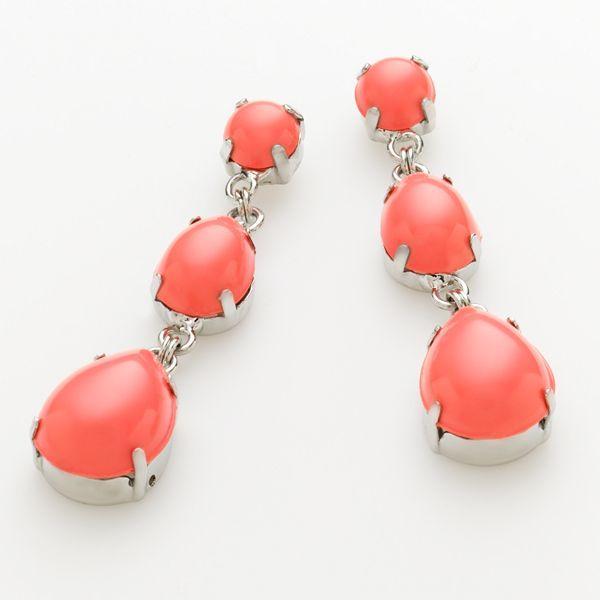 Apt. 9® Silver-Tone Cabochon Drop Earrings
