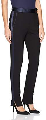 Halston Women's Slim Tapered Suiting Pants with Satin Inserts