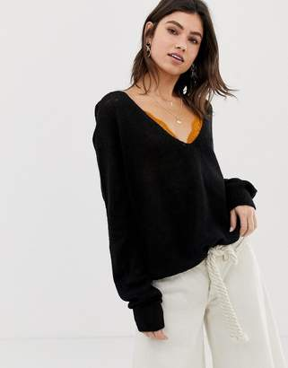 Free People Gossamer v-neck sweater in alpaca wool blend