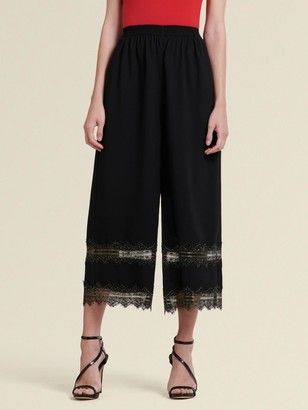 DKNY Cropped Wide-Leg Pant With Lace Trim