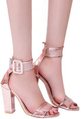 Tenworld Women's Dress Sandal Chunky Heel Ankle Strap Sandals (9, )