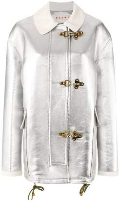 Marni lamb leather metallic jacket