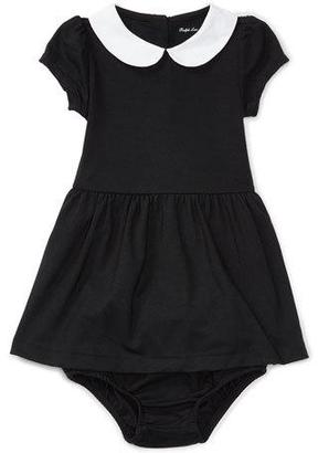 Ralph Lauren Cap-Sleeve Collared Jersey Dress w/ Bloomers, Black, Size 9-24 Months $55 thestylecure.com