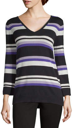 Liz Claiborne Womens V Neck Long Sleeve Striped Pullover Sweater 0697eaebc