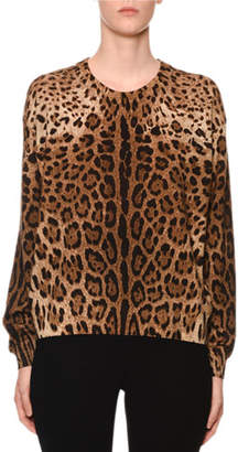 Dolce & Gabbana Cashmere Leopard-Print Crewneck Sweater