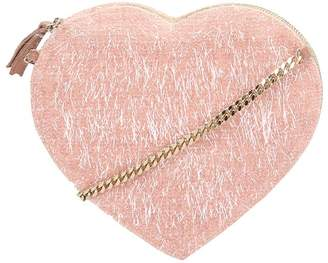 Anniel Pink Heart Furry Crossbody Bag