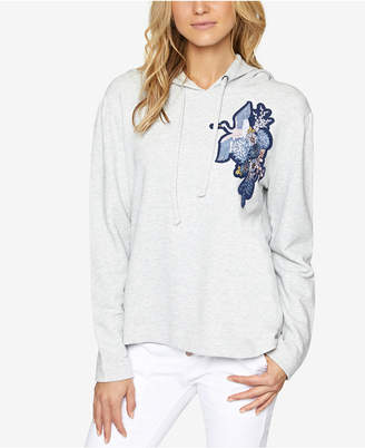 Sanctuary Crane Embroidered Cotton Hoodie