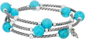American West Gemstone Bead & Sterling Silver Coil Wrap Bracelet