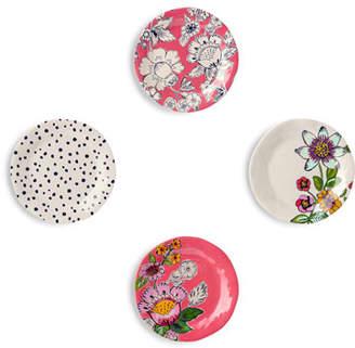 Vera Bradley Coral Floral Tidbit Plates, Set of 4
