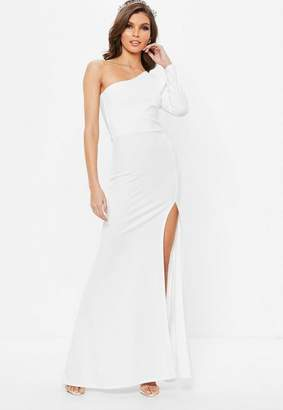 Missguided White One Shoulder Long Sleeve Split Maxi Dress