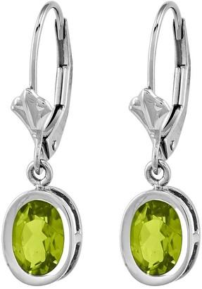 14K White Gold Oval Gemstone Leverback Earrings