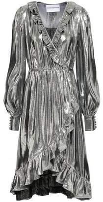 Perseverance Ruffle-Trimmed Silk-Blend Lamé Wrap Dress