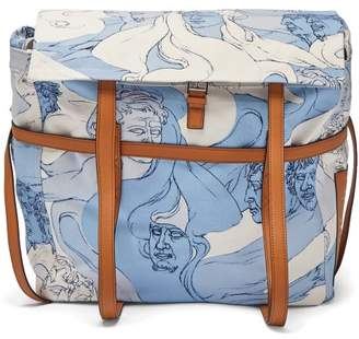 Loewe Faces Print Canvas Messenger Bag - Womens - Blue White