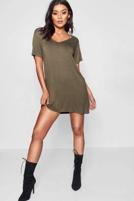 boohoo V Neck Tshirt Dress