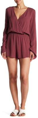 Love Stitch Long Bell Sleeve Wrap Front Romper