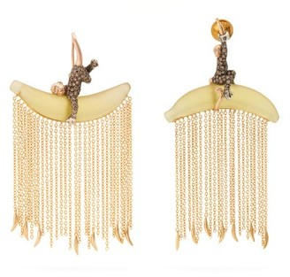 Bibi Van Der Velden - Monkey Chain Diamond & 18kt Gold Earrings - Womens - Yellow