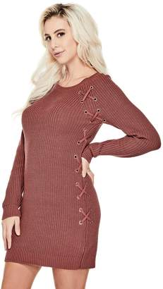 Factory Guess Women's Paula Lace-up Sweater Dress